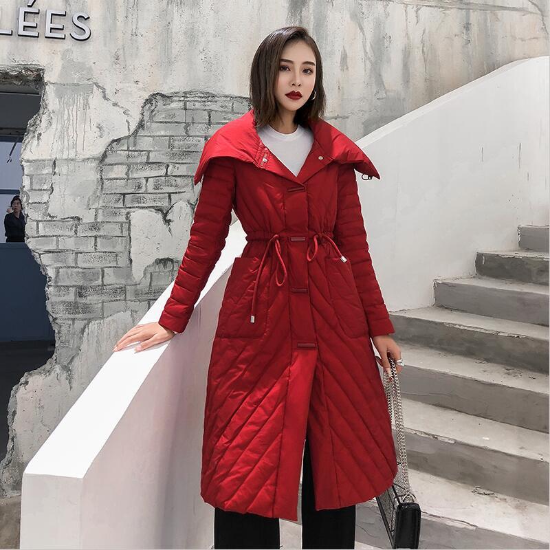Down     Coat   Winter Women Outerwear 2019 New Winter Women   Down   Jacket Long Slim Thickening Warm Pakras   Coats   Female Pakra Black