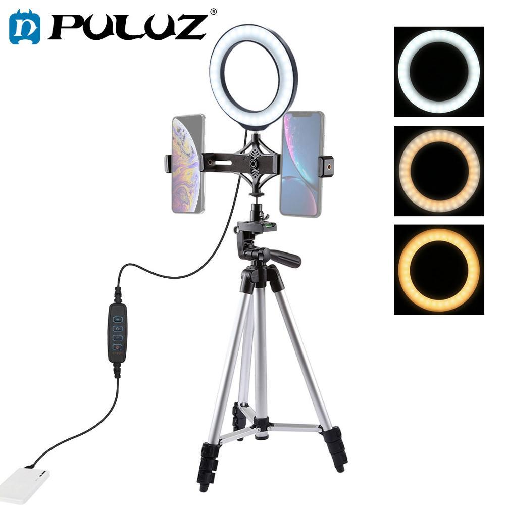 PULUZ Tripod Mount Live Broadcast Dual Phone Bracket 6 2 inch LED Ring Vlogging Video Light