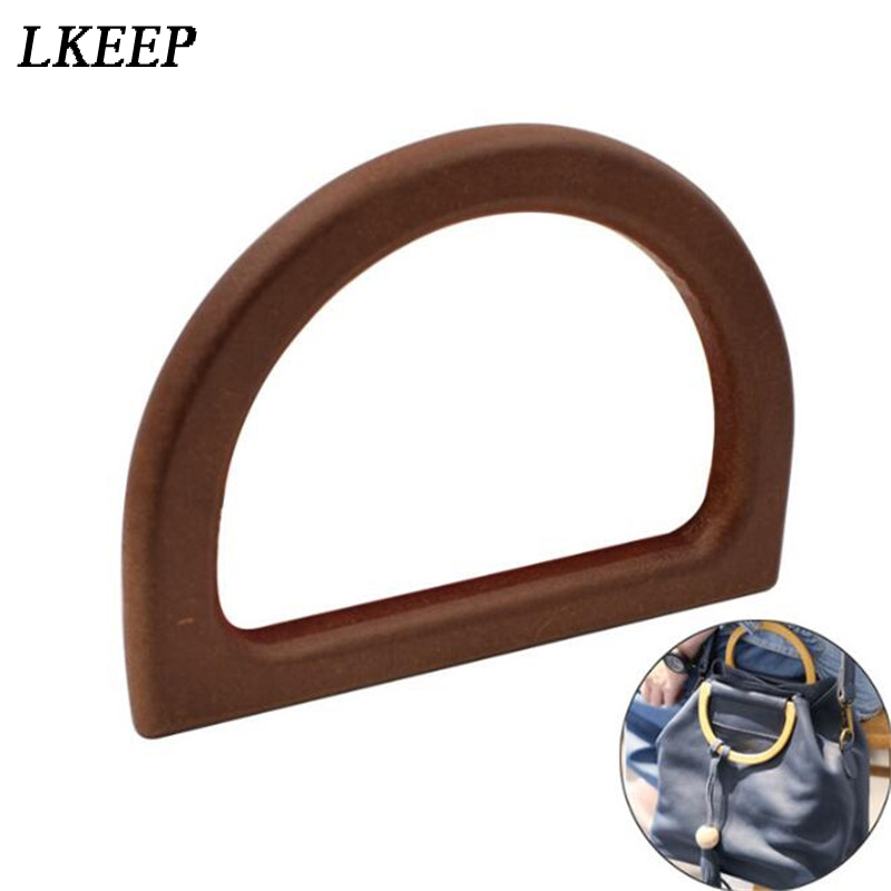 New High Quality Wooden Handle D Shape Replacement DIY Handbag Purse Frame Bag Accessories For Women Female