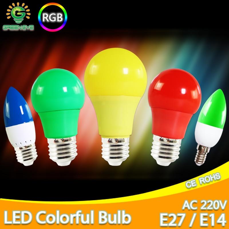 Led Bulb E27 E14 3W 5W 7W LED Lamp RGB A60 A50 G45 C35 Led Candle Light Colorful SMD 2835 AC 220V 240V Flashlight Globe Bulb