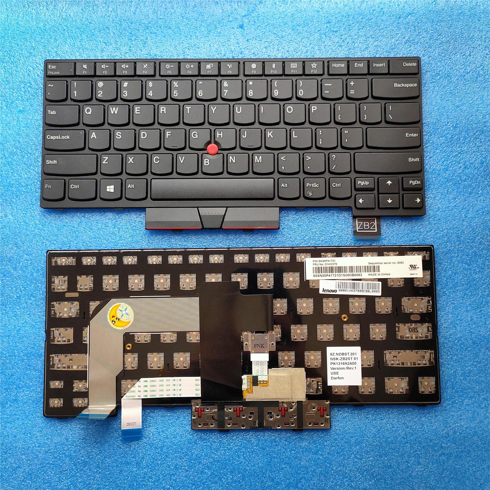 US Laptop Keyboard for Lenovo Thinkpad T480 T470 01AX558 01AX599 01AX517 Backlit