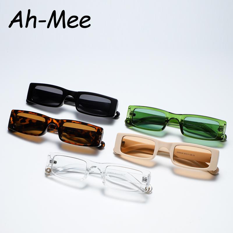 2021 New Rectangle Sunglasses Women Fashion Small Square Frame Vintage Sun Glasses Men Shades Retro Clear Green Oculos UV400