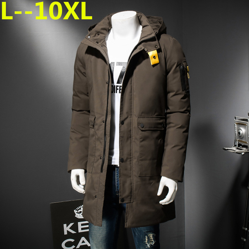 PLUS SIZE 10XL 9XL 8XL 6XL New Clothing Jackets Business Long Thick Winter Coat Men Solid Parka Fashion Overcoat Outerwear