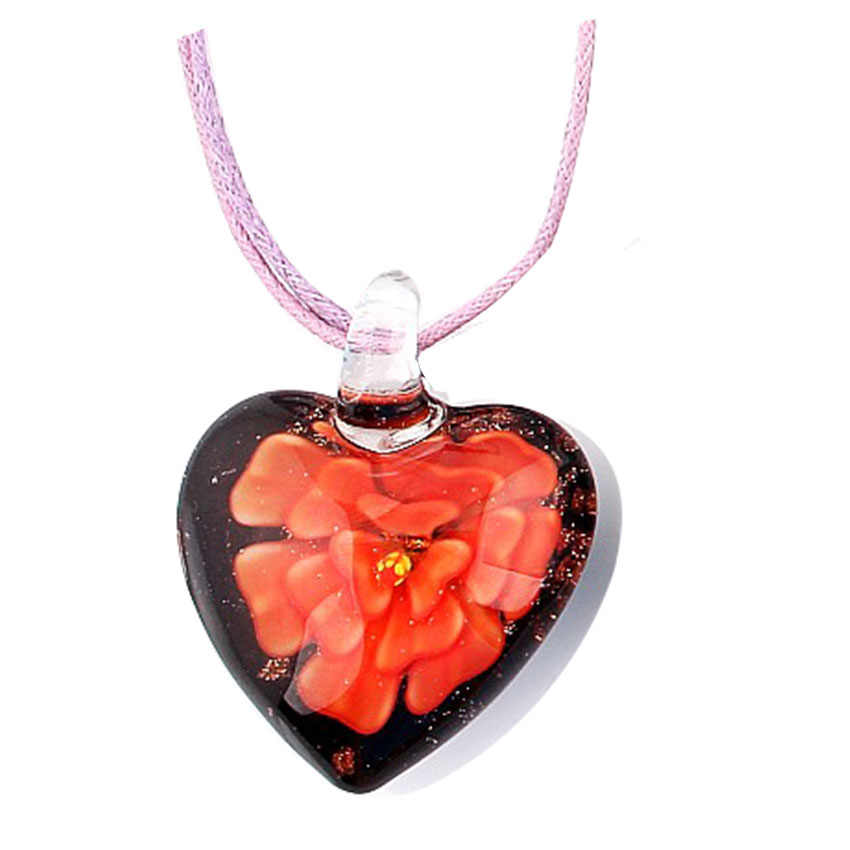 QIANBEI Fashion Color Girl Christmas accessories Heart pendant Necklace Lampwork Murano Glass Pendant Necklace Color for Choose
