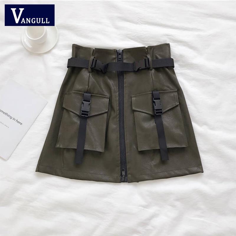 Vangull Summer Solid PU Safari Style Mini Skirt Women Casual A-line High Waist Streetwear Pockets Zipper Tie Skirt 2020 New