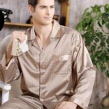 봄 남성 얼룩 실크 잠옷 세트 잠옷 남성 잠옷 현대 스타일 실크 잠옷 홈 남성 새틴 부드러운 아늑한 잠자는위한