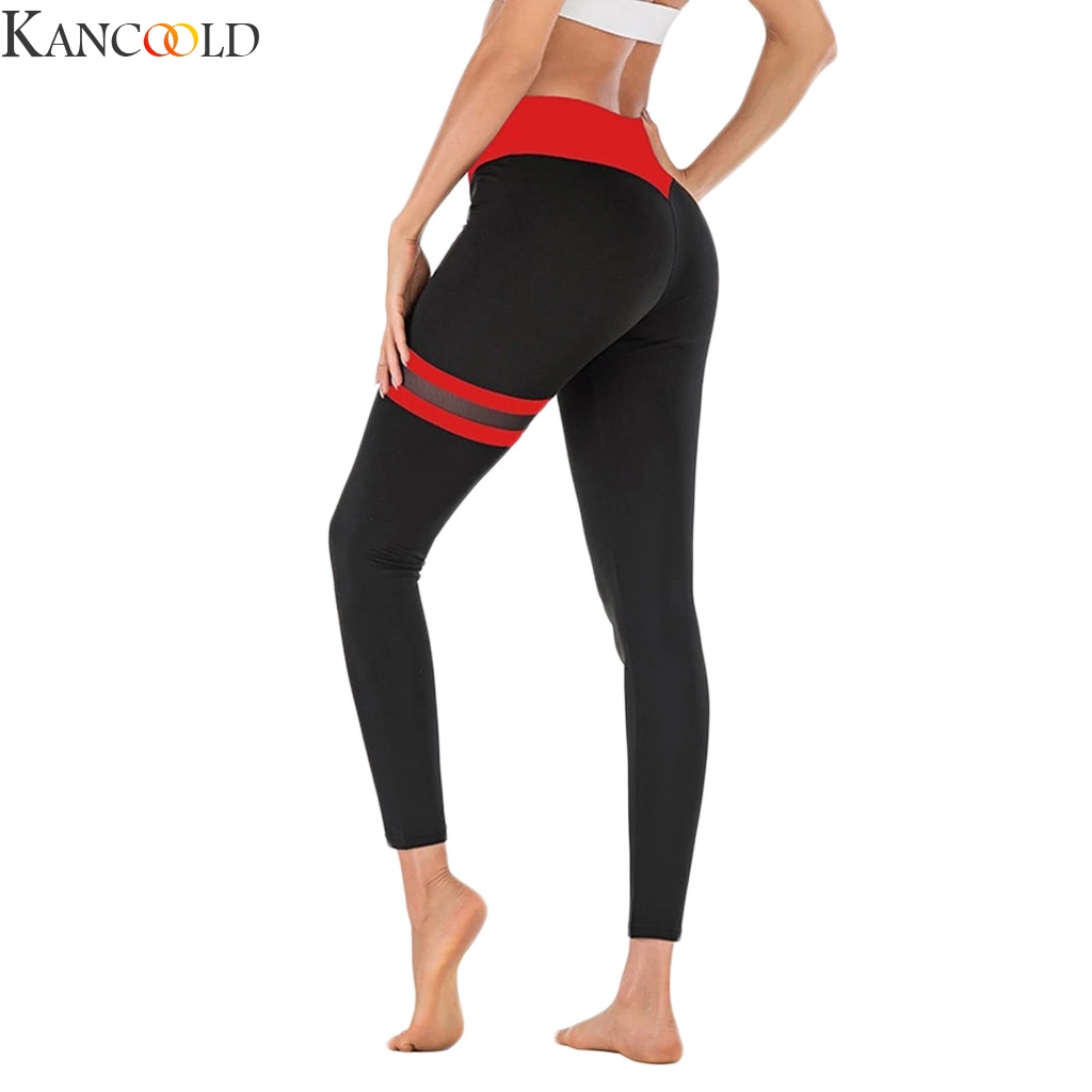 KANCOOLD Ladies'Gauze Splicing Stitching Exercise Fitness And Running Pants Sports Running Leggings Sexy Push Up Gym Wear