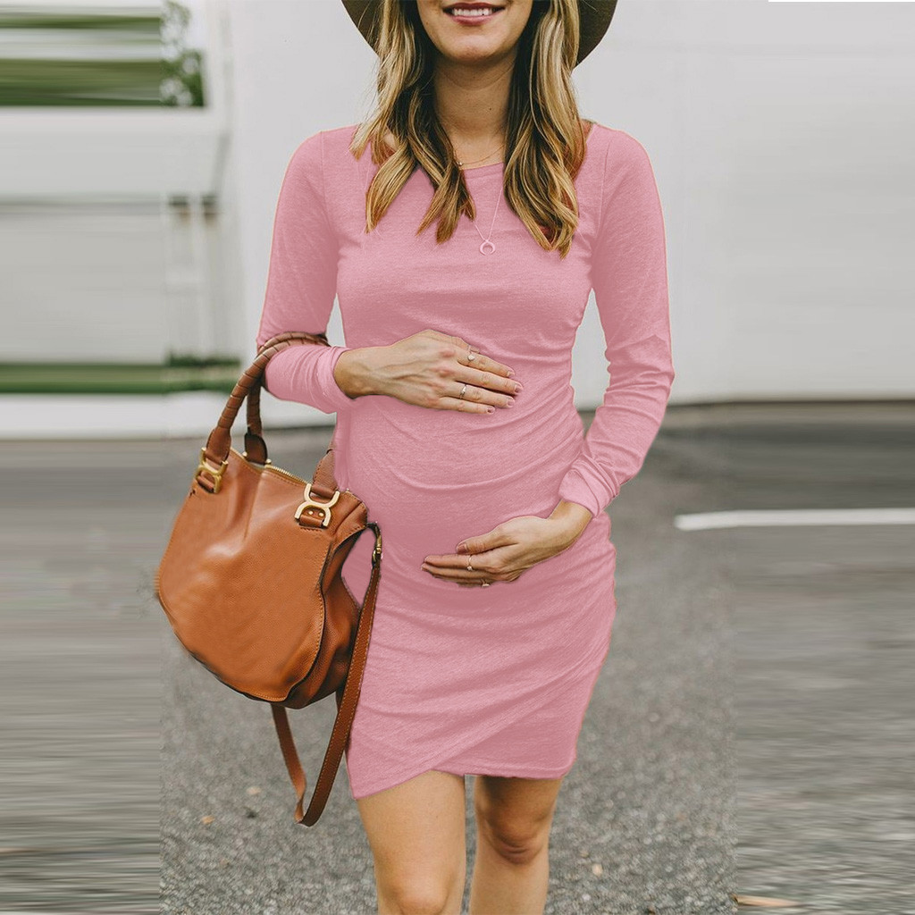 MUQGEW Sexy Dress For Maternity 2019 New Women Pregnant Warm Long Sleeve Dress Solid O-Neck Irregular Dress Ropa Para Embarazada