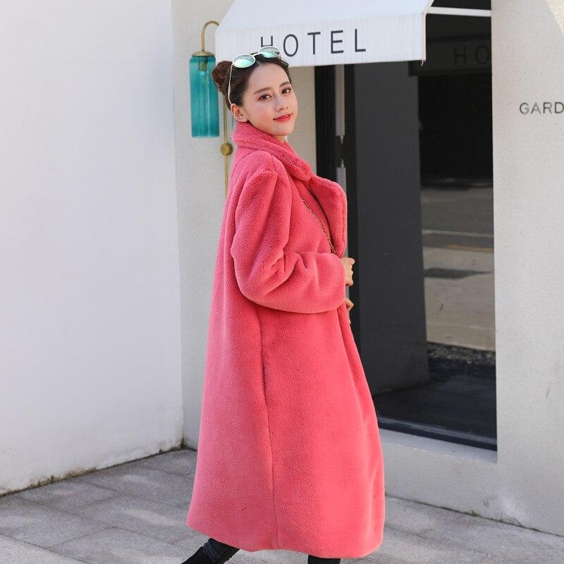 Зимняя новинка Женская мода Стиль чистый цвет теплый толстый искусственный мех кролика пальто XHSD-426 - Цвет: Red