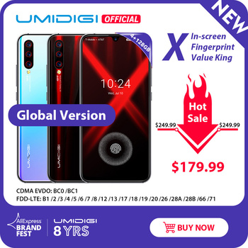 "Versión Global umideli X en pantalla huella digital 6,35 ""AMOLED 48MP Triple cámara trasera 128GB NFC Helio P60 4150mAh teléfono móvil"