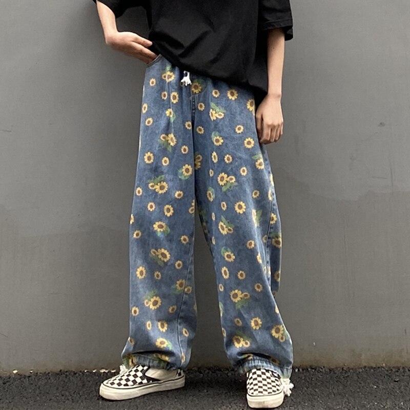 K-pop Sunflower Printed Loose Denim Jeans 1