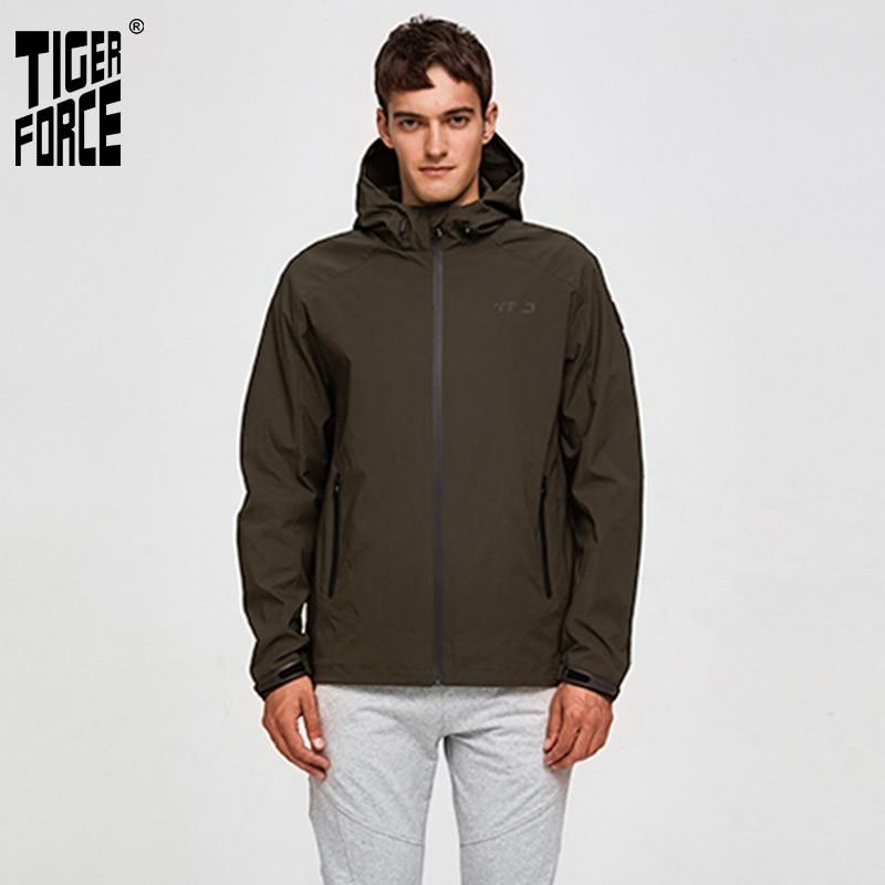 Tiger Force 2019 Men's Spring Jackets Hooded Casual Windbreaker Plus Size Fashion Bomber Jacket Windproof Man Coat Outerwear