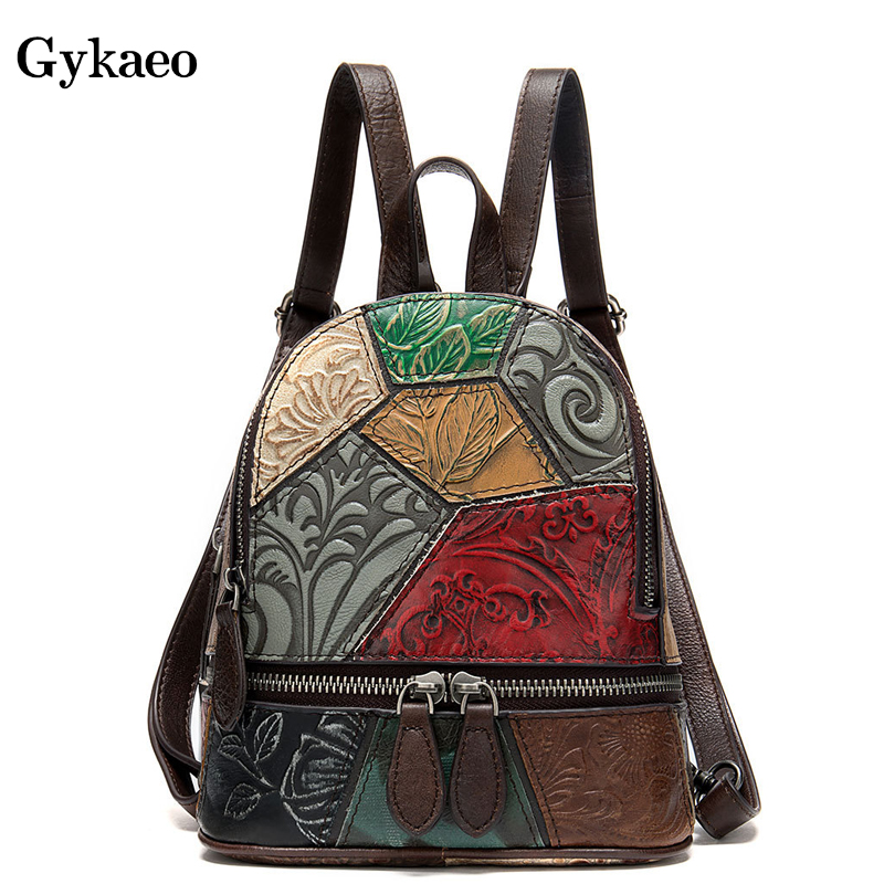 Gykaeo Style bohème en cuir véritable sacs à dos femmes Patchwork Hit couleur petit sac à dos décontracté Mini sacs à dos pour filles sac à dos