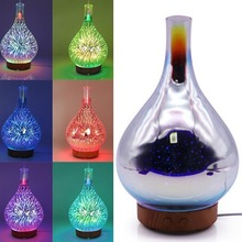 LED Aromatherapy Humidifier Night Light 3D Glass Firework Colorful Essential Oil Diffuser UK/US/AU/EU