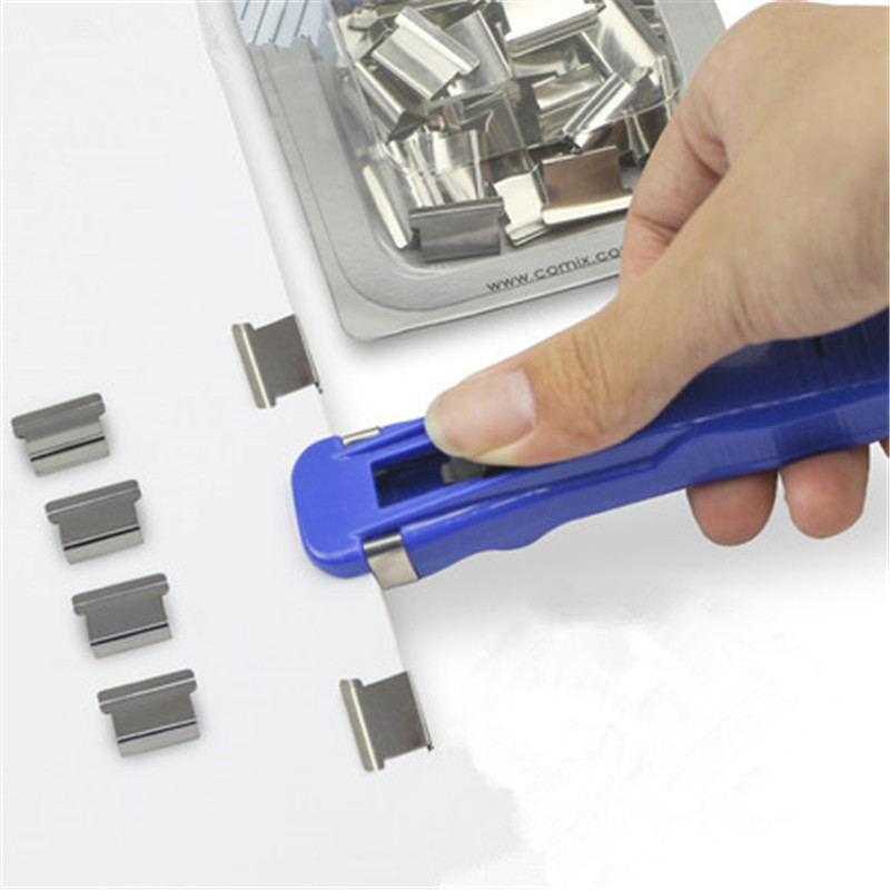 1set Metal Push Paper Clip Sets Bookbinding Machine Office Binding Supplies Clipper Clip Refill Stationery Binding Accessories