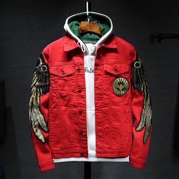 Harajuku street clothing jeans jacket men lapel hip hop windbreaker denim jacket bomber jacket printed embroidery menswear patched printed bomber jacket