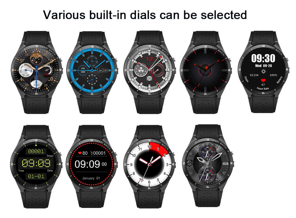 Reloj inteligente kaworui Android5.0/7,0 KW88/Pro podómetro del ritmo cardíaco compatible con tarjeta SIM 3G Reloj GPS WIFI Smartwatch para Android IOS