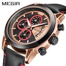 Yaratıcı MEGIR Chronograph erkekler İzle Relogio Masculino moda deri kuvars bilek saatleri erkekler saat saat ordu askeri saatler