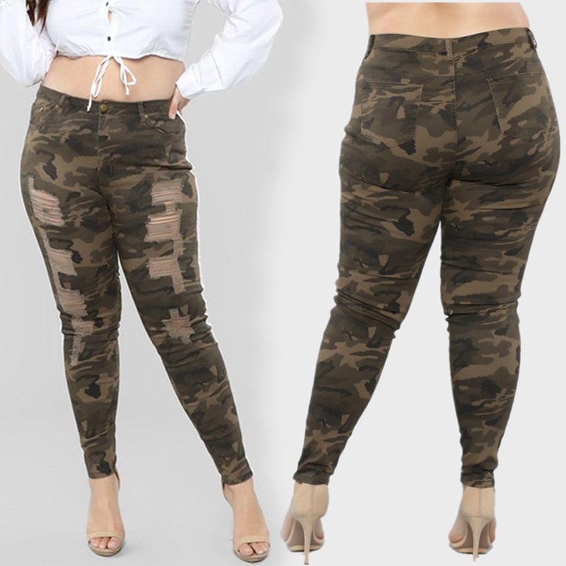 Fashion Green  Stripe Camouflage Jeans High waist Women Plus Size Skinny Slim pants Female
