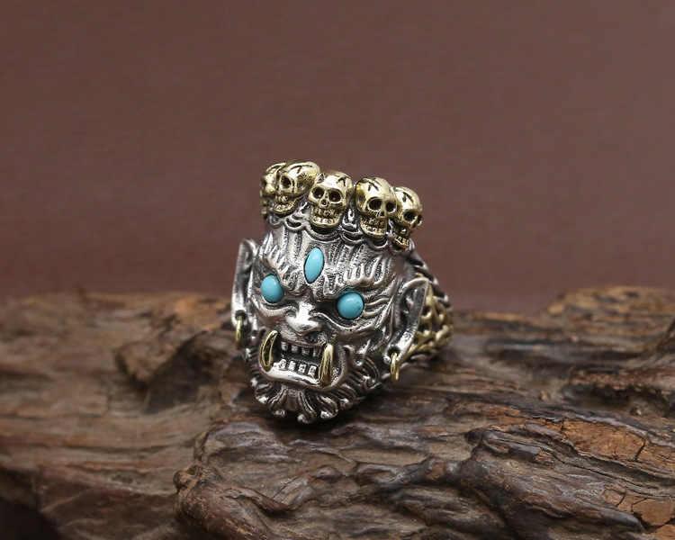 Серебро S925 кольцо Ретро тайский серебряный большой черный Фортуна Бог мужское Открытое кольцо