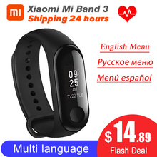 Auf Lager Xiaomi MiBand 3 Mi band 3 Fitness Tracker Heart Rate Monitor 0.78 OLED Display Touchpad Bluetooth 4,2 für Android IOS