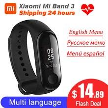Em estoque xiaomi miband 3 mi banda 3 rastreador de fitness monitor de freqüência cardíaca 0.78 oled oled display oled touchpad bluetooth 4.2 para android ios