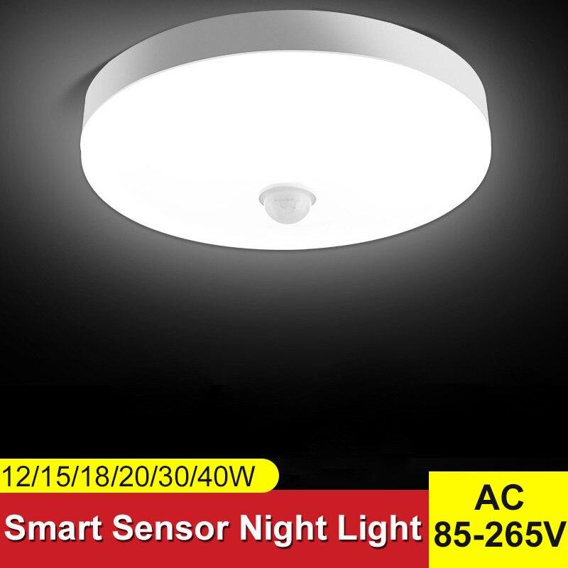 Luces nocturnas inteligentes lámpara Led con Sensor de movimiento luces de techo AC85 265V bombillas LED 15/20/30/40W para baño iluminación del hogar blanco|Luces de noche LED|   - AliExpress