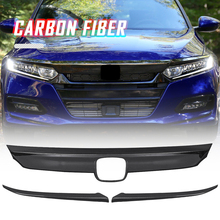 For Honda Accord 2018 2019 1set Car Front Hood Bumper Lid Bonnet Grille Cover Moulding Trim Glossy Black ABS Plastic