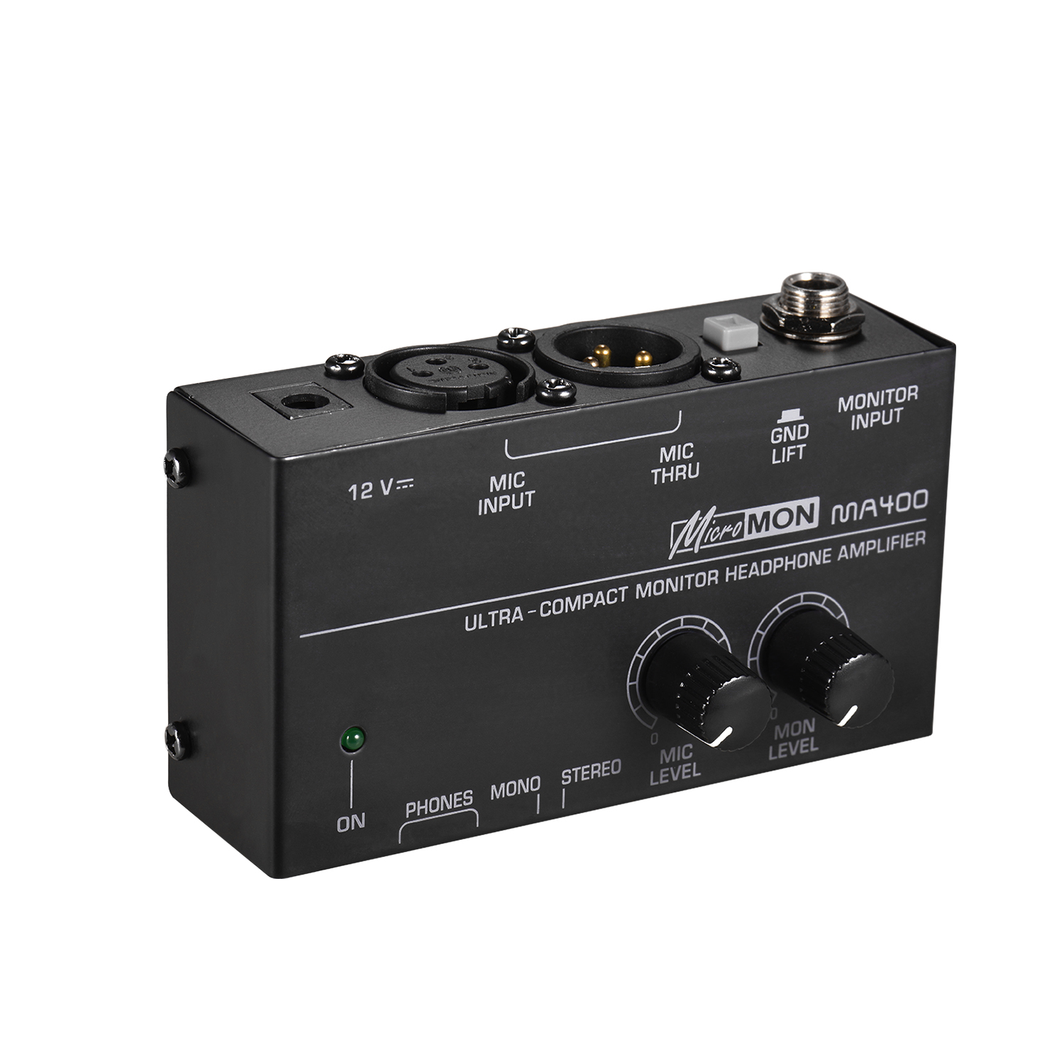 Ultra-Compact Monitor Headphone Amplifier Amp With XLR Microphone Monitor Input 6.35mm & 3.5mm Headphone Outputs Volume Controls