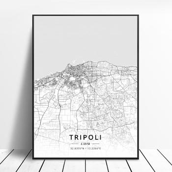 Black and White Tripoli Libya Latitude Longitude Canvas Art Map Poster image