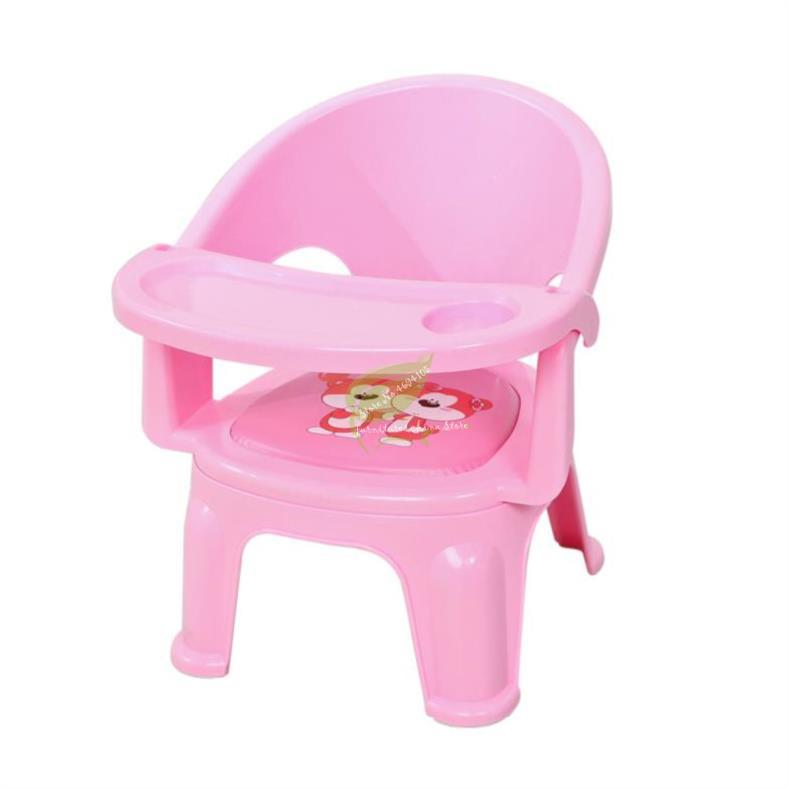 Pink Children's Dining Chair Called Chair With Plate Tray Baby Eating Table Children Chair Table Back Baby Stool Plastic
