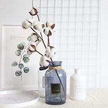 Flores de algodão naturalmente secas plantas artificiais ramo floral para festa de casamento decoração flores falsas decoração para casa artificial