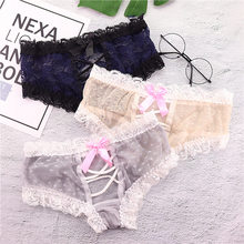 2019 Lace lace Women's Transparent Lace Panties High Waist Underwear Sexy G-String Bow triangle underpants For girl(China)