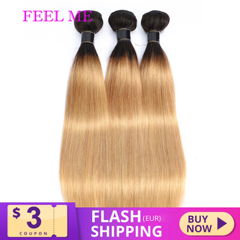FEEL ME Ombre Straight Hair Bundles 1b/27 Two Tone Peruvian Human Hair Bundles 1/3/4 pcs Non-remy Hair Weave Extensions image