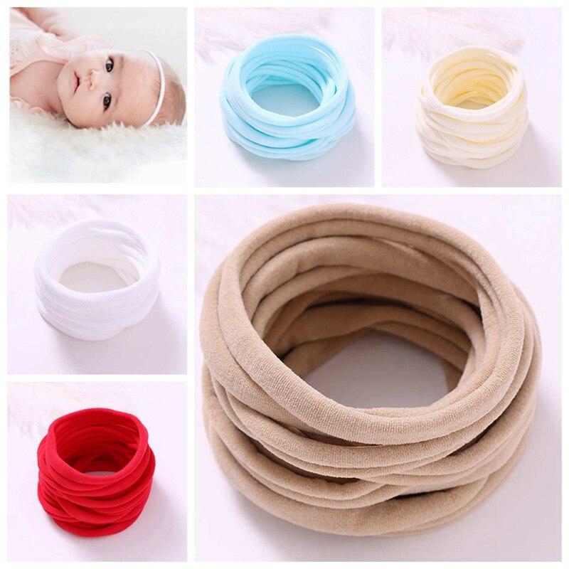 Сверхмягкая эластичная тонкая нейлоновая повязка на голову для девочек, аксессуары для волос, 100 шт./лот