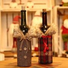 Креативный чехол для бутылки вина с меховой опушкой, Рождественский подарок на свадьбу, держатель для сумки, декор стола, праздничные вечерние украшения для дома