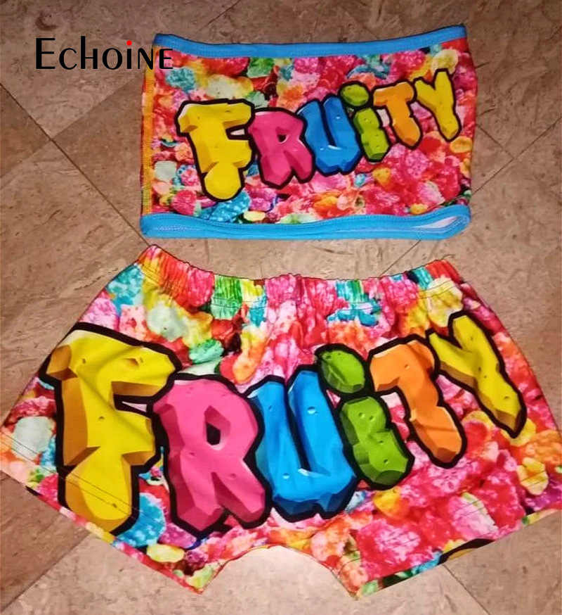 Echoine Frauen Sexy 2 Zwei Stück Set Gedruckt Rohr Crop Top Biker Shorts Anzug Bodycon Anzüge Trainingsanzug Set Fitness Kleidung outfits