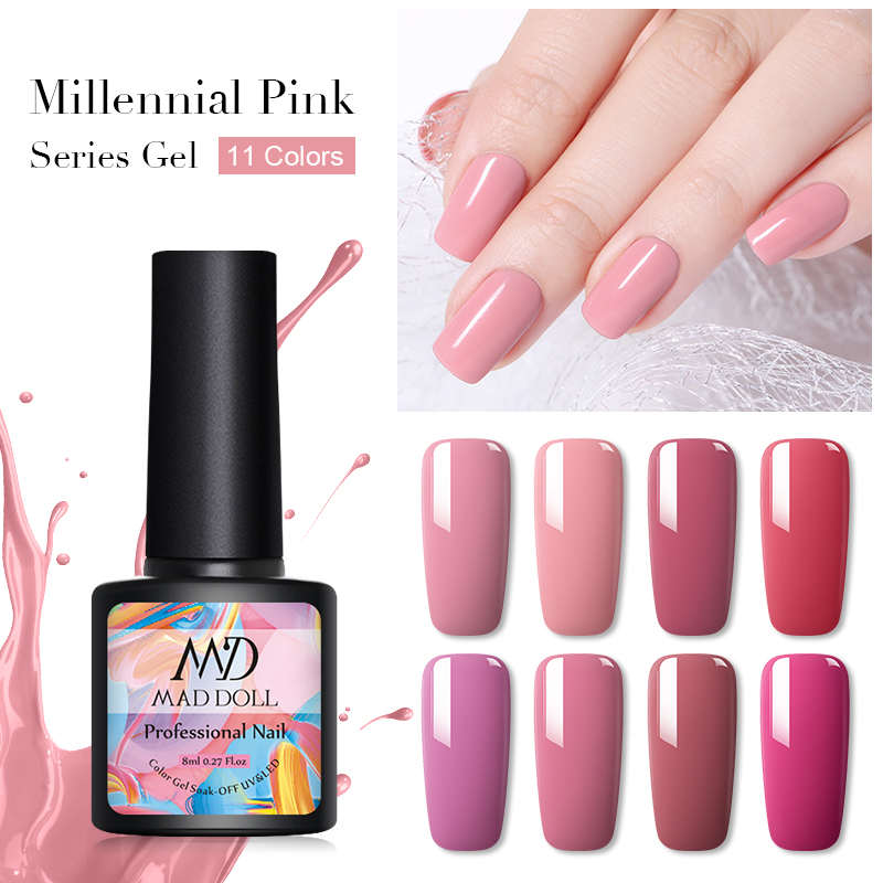MAD DOLL 8ml Gel Nail Polish Pale Mauve Series Pink Color Soak Off UV Gel Varnish One-shot Color Nail Art Gel Polish Manicur