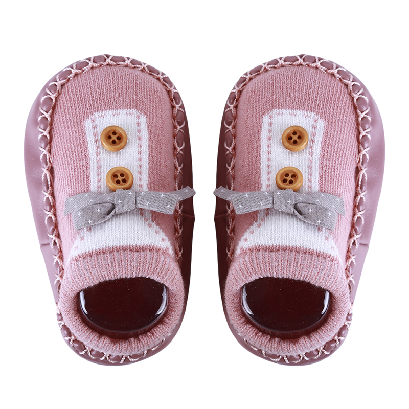 New Spring Baby Shoes Bow Botton Boys Girls Newborn Socks Non-slip Soft Bottom Step Leather Children Floor Socks