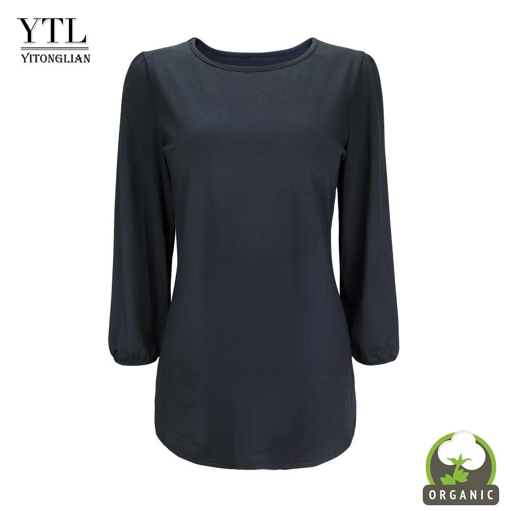 YTL femmes coton Blouse trois quarts manches solide col rond tunique Pima couverture en coton lâche chemises décontractées dames mode H305