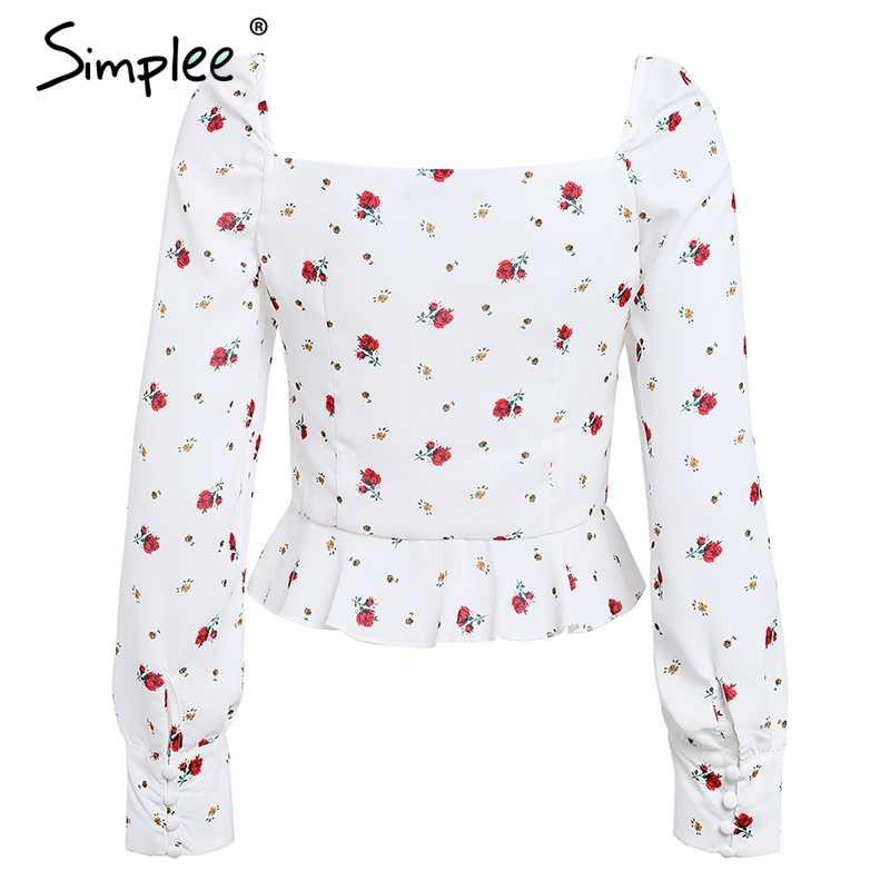 Simplee خمر كشكش الأبيض بلوزة قميص المرأة نفخة طويلة الأكمام الصيف peplum أعلى 2018 ساحة الرقبة طباعة الشيفون blusa الأنثوية