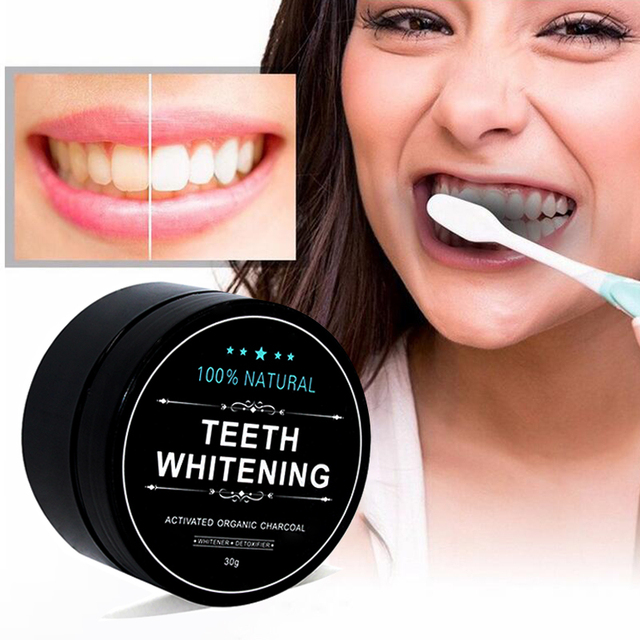 1 oz Activated Coconut Charcoal Powder Teeth Whitening Powder Bamboo Teeth Whitening Kit with Toothbrush for Oral Hygiene 3