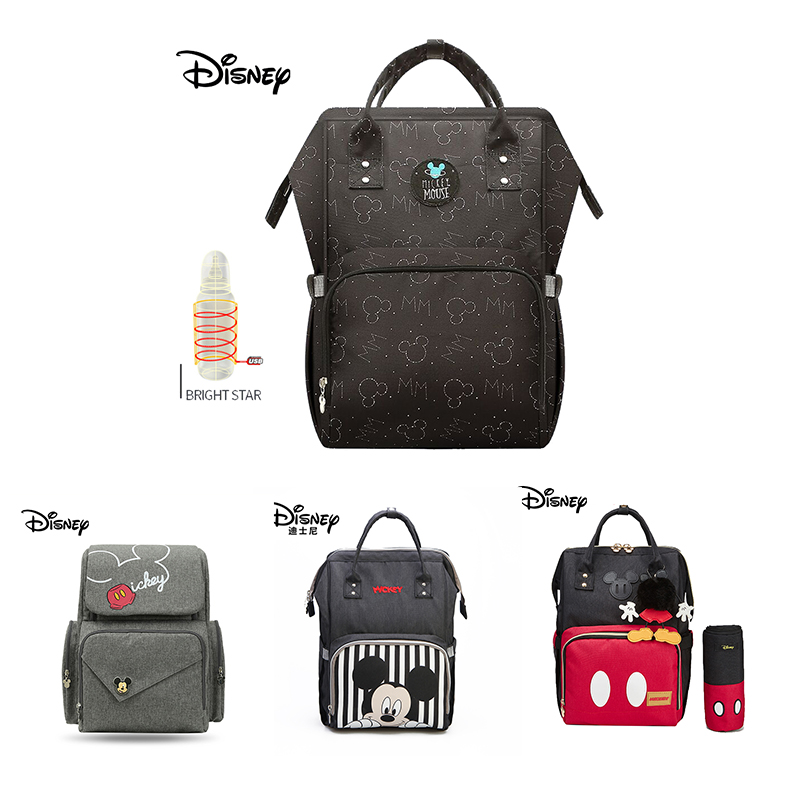 Disney Diaper Bag USB Baby Bags Large Capacity Baby Mickey Mummy Maternity Diaper Bag Travel Backpack Baby Stroller Hanging Bag