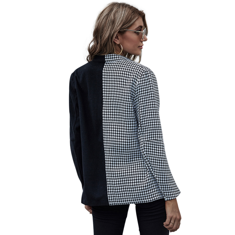 Houndstooth Blazer wome Plaid Double Breasted Jacket Blazers Women Autumn Casual Vintage Suits Female Winter Patchwork OL Suits