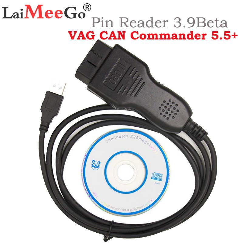 Strumento di Diagnostica Vag Can Commander 5.5 + Cavo Diagnostico Spille Reader 3.9Beta per Le Auto per V-W/Se- a/Sk-Oda per Audi Scanner Vag