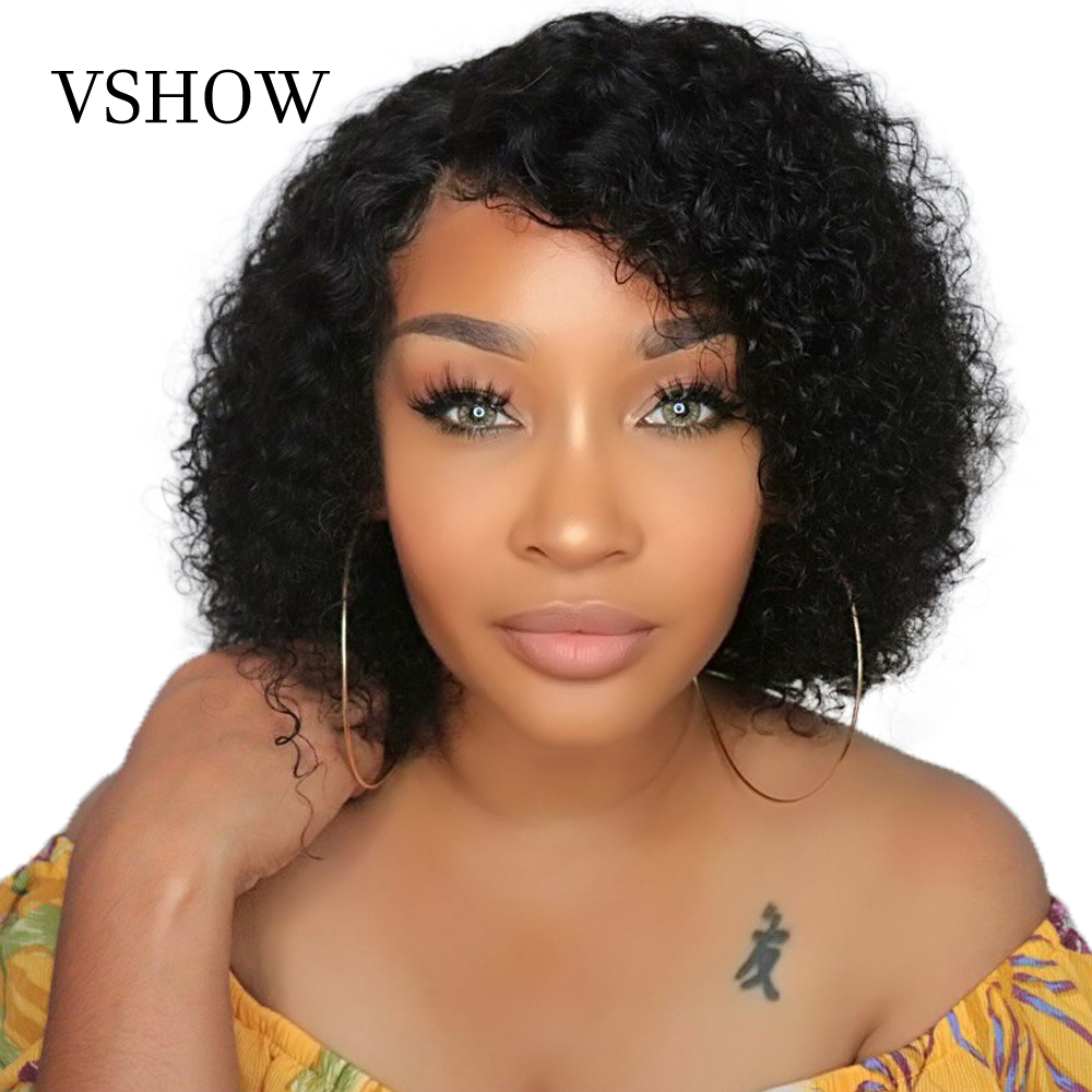 VSHOW 13X4 Brazilian Water Wave Short Bob Wigs With Baby Hair Remy Lace Front Human Hair Wigs 150% 180%  Lace Front Wigs