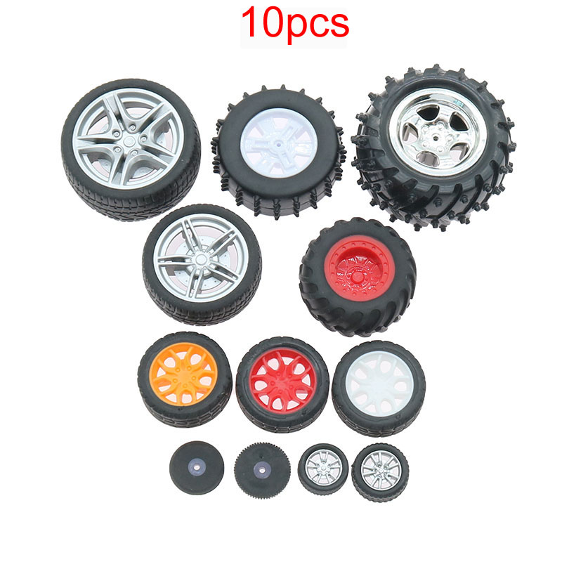 10pcs PC Toy Wheel Rubber Rim Tyres DIY Mini Technology 4WD Colorful Tires Hole Dia 2mm 2.5mm 3mm for RC Model Cars Toycars Part