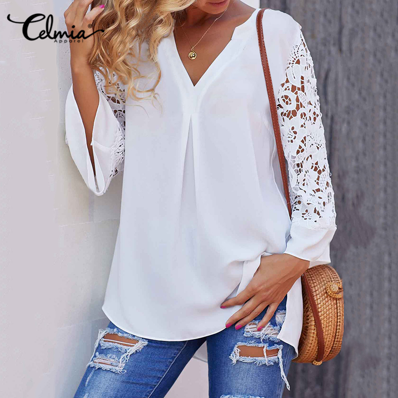 Fashion Women Blouse Celmia Summer V Neck Lace Shirt 3/4 Sleeve Sexy Hollow Out Tunic Top Casual Loose Office Blusas Plus Size 7