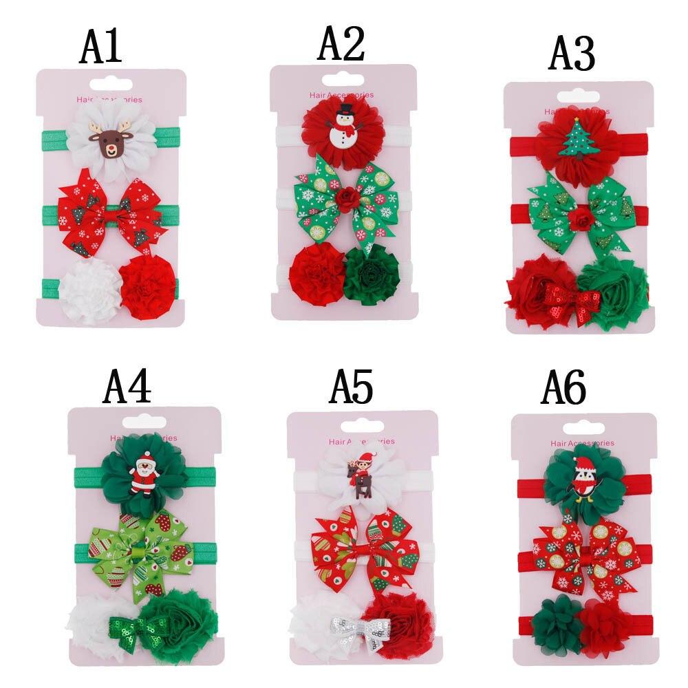 3pcs Baby Girls Boys Christmas Tree Santa Claus Headband Baby Girls Headwear  Christmas Eve Gift Accessories HOOLER