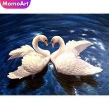 MomoArt Diamond Embroidery Animal Painting Full Drill Square/round Mosaic Swan Weeding Decoration